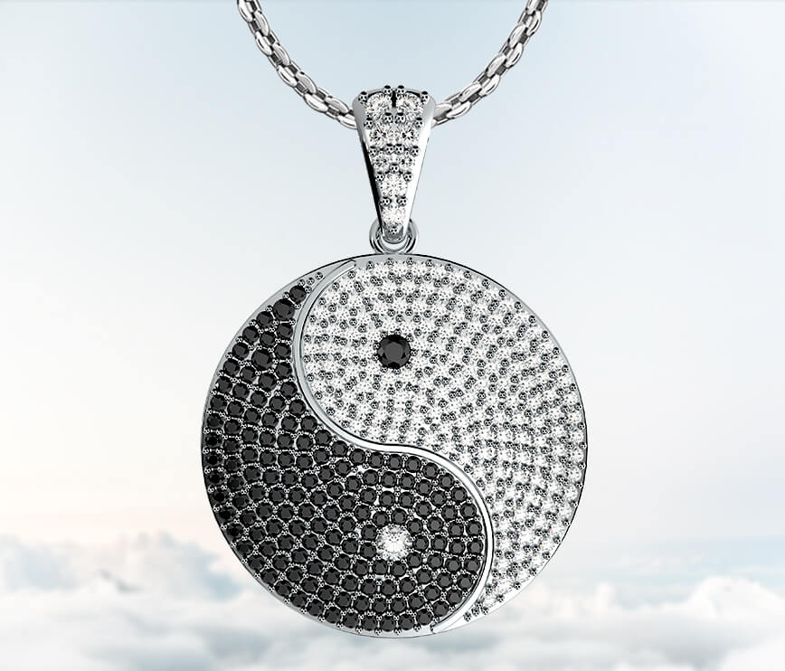 Coexist Chinese Yin Yang Diamond Pendant Necklace