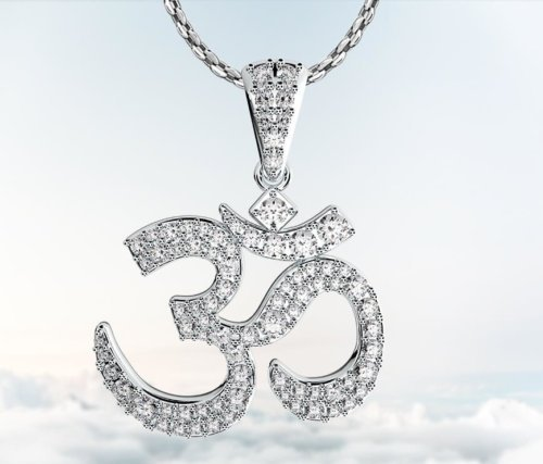Coexist Hindu Om Diamond Pendant Necklace