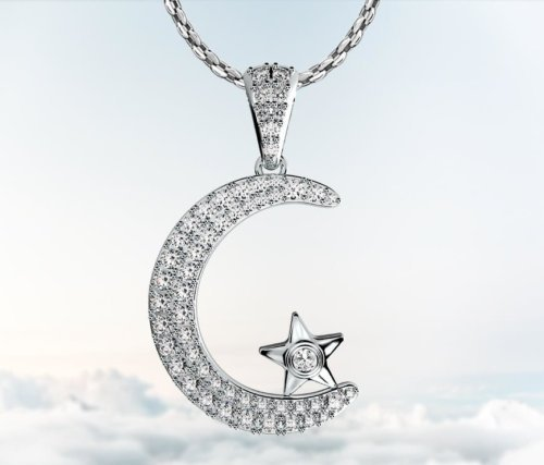 Coexist Islamic Moon Star Diamond Pendant Necklace