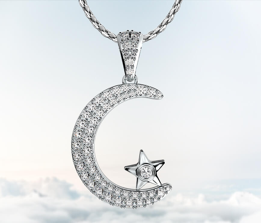 Coexist Islamic Moon Star Diamond Pendant Necklace