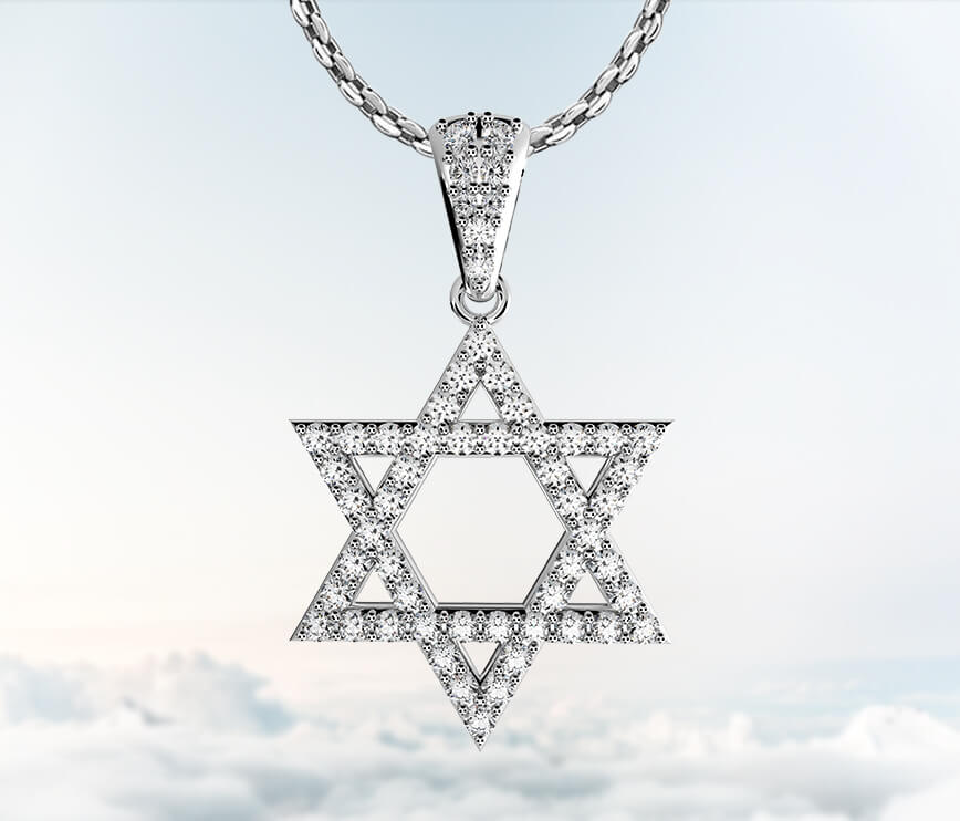 Coexist Judaic Star Of David Diamond Pendant Necklace