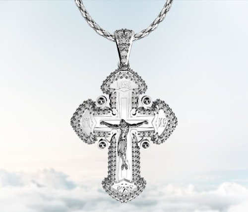 Coexist Orthodox Cross Diamond Pendant Necklace