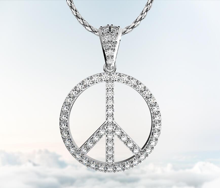 Buy coexist piece sign micropave diamond pendant necklace in 14k coexist piece sign diamond pendant necklace aloadofball Gallery