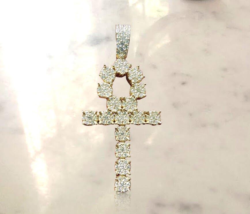 Egyptian Ankh Cross Diamond Pendant