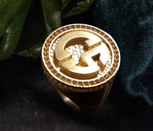 Men's Initial Signet Ring