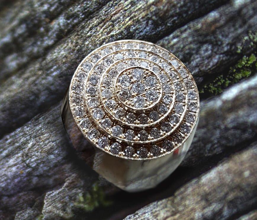 Men's Round Cluster Diamond Ring