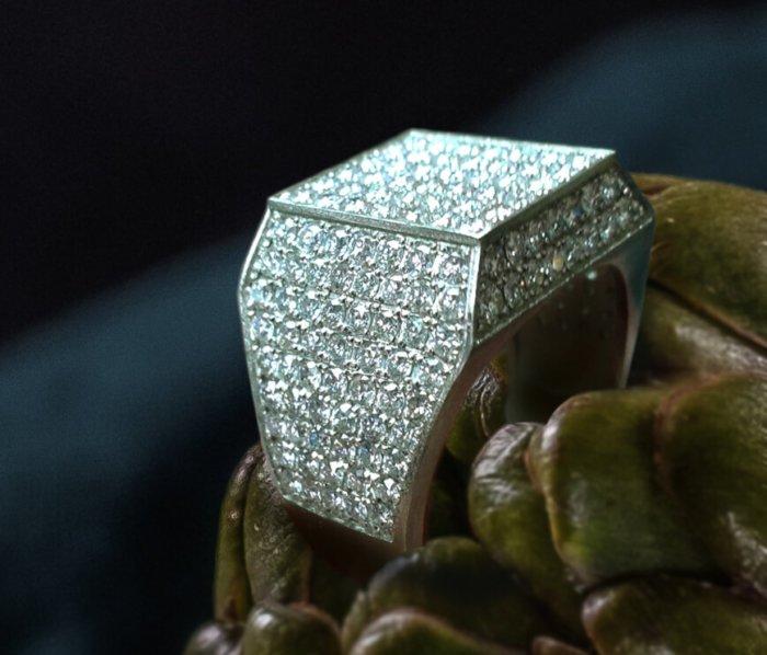 Men's Square Shape Diamond Signet Ring