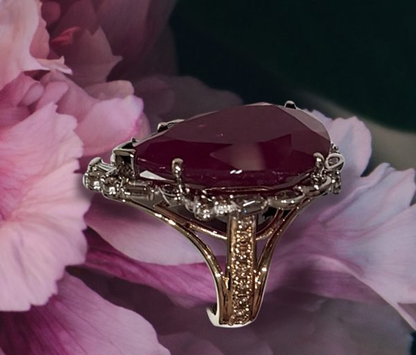 Pear Shaped Ruby Cocktail Ring with Diamonds
