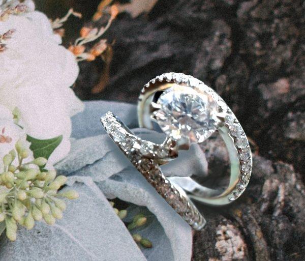 Round Floating Diamond Engagement Ring