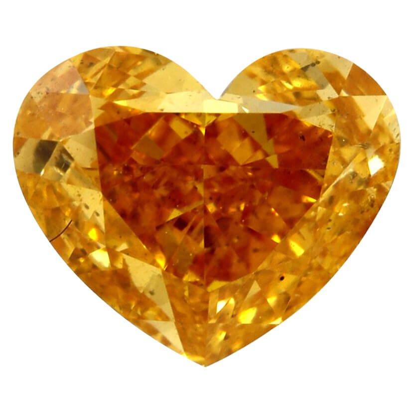 Fancy Vivid Yellow Orange Heart