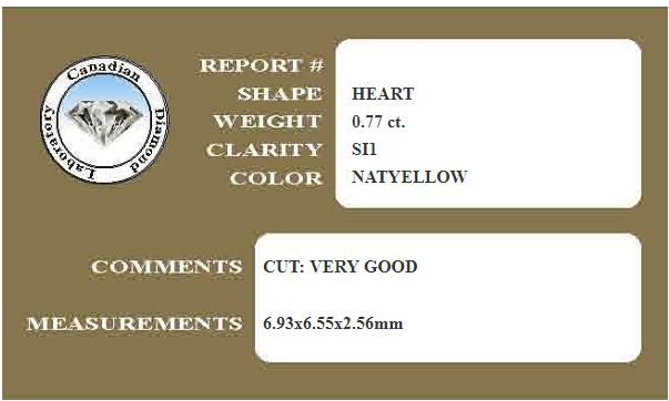 Fancy Yellow Heart Diamond Certificate