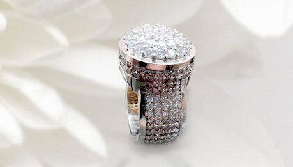 Two Tone Diamond Cluster Pave Men's Ring