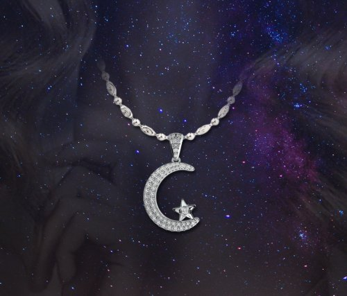 Coexist Islamic Moon Star Micropave Diamond Pendant