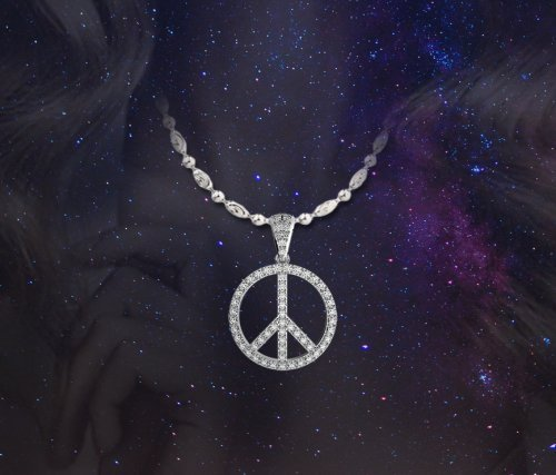Coexist Piece Sign Micropave Diamond Pendant Necklace