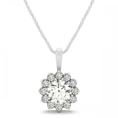 Round Cut Diamond Halo Drop Pendant