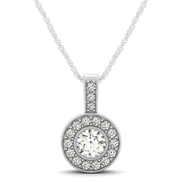 Round Cut Diamond Round Halo Drop Pendant