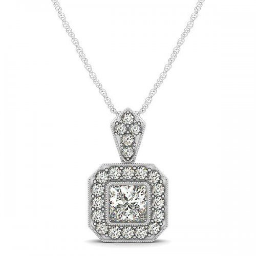 Princess Cut Diamond Halo Drop Pendant