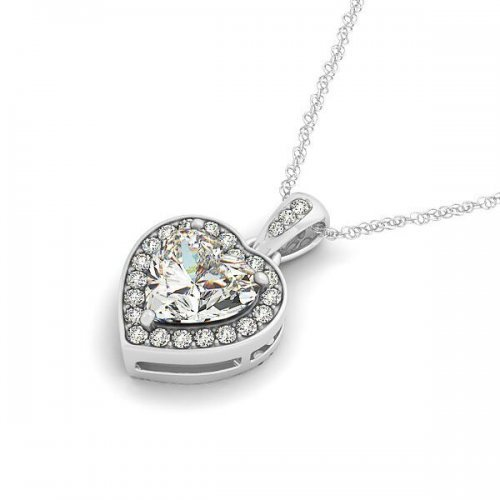 Heart Shaped Diamond Halo Drop Pendant