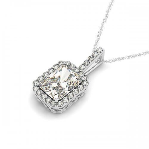 Emerald Cut Diamond Halo Drop Pendant