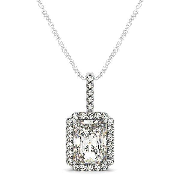 Emerald Cut Diamond Halo Drop Pendant