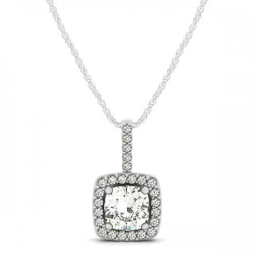 Cushion Cut Diamond Halo Drop Pendant
