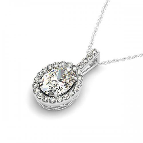 Oval Diamond Halo Drop Pendant