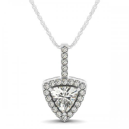 Trillion Cut Diamond Halo Drop Pendant
