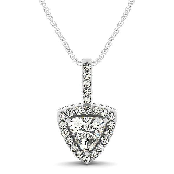 Trillion Cut Diamond Halo Drop Pendant