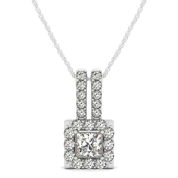 Princess Diamond Square Halo Drop Pendant