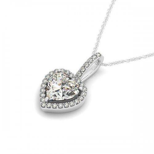 Heart Shaped Diamond Halo Drop Pendant