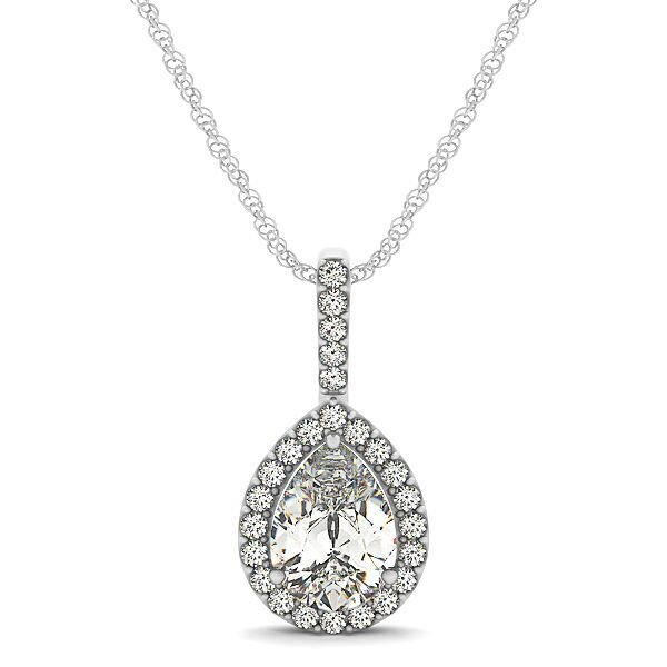 Pear Shaped Diamond Halo Drop Pendant