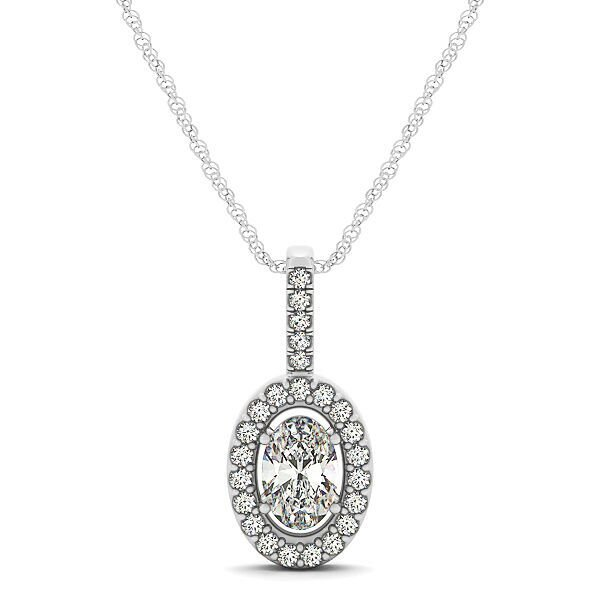Oval Shaped Diamond Halo Drop Pendant