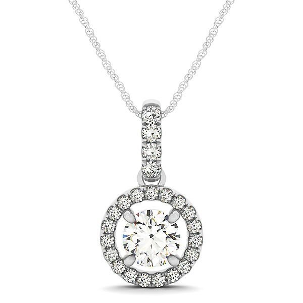 Round Diamond Halo Drop Pendant