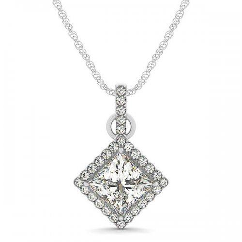 Princess Cut Diamond Halo Drop Pendant