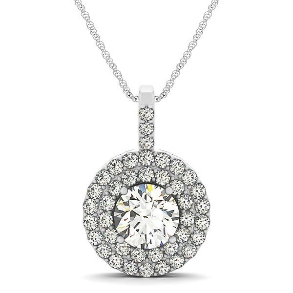 Round Cut Diamond Double Halo Drop Pendant