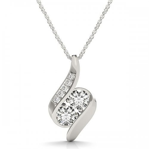 Round Diamond Two Stone Drop Pendant