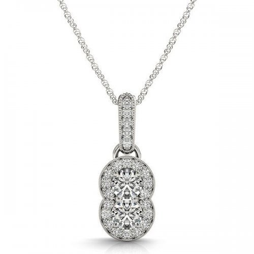 Round Diamond Two Stone Halo Drop Pendant