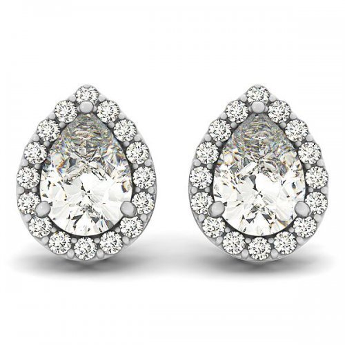 Pear Shaped Diamond Halo Earrings