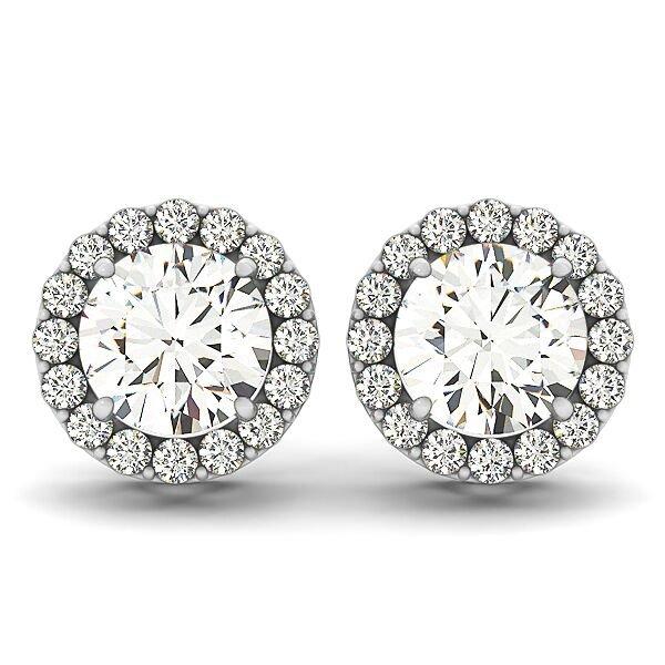Round Diamond Halo Earrings
