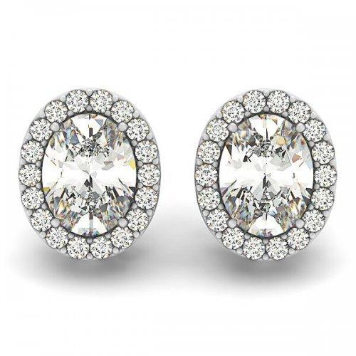 Oval Diamond Halo Earrings