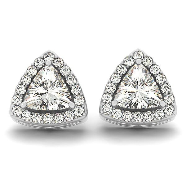 Trillion Cut Diamond Halo Earrings