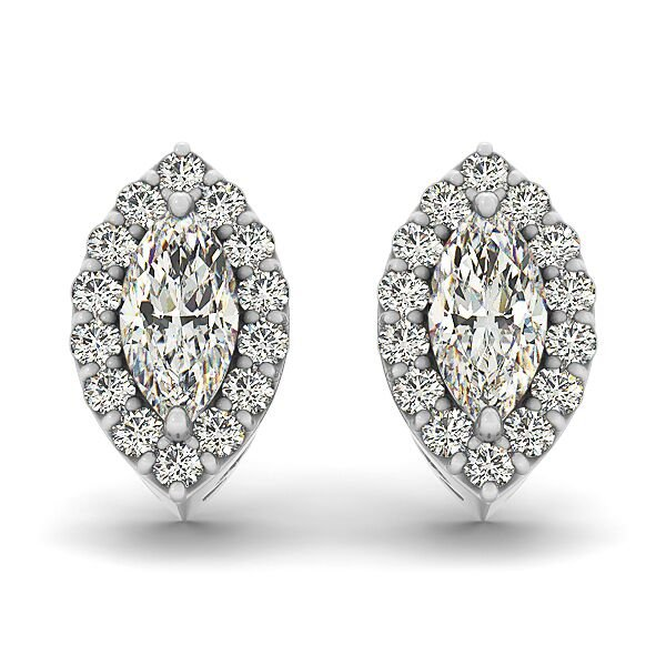 Marquise Cut Diamond Halo Earrings