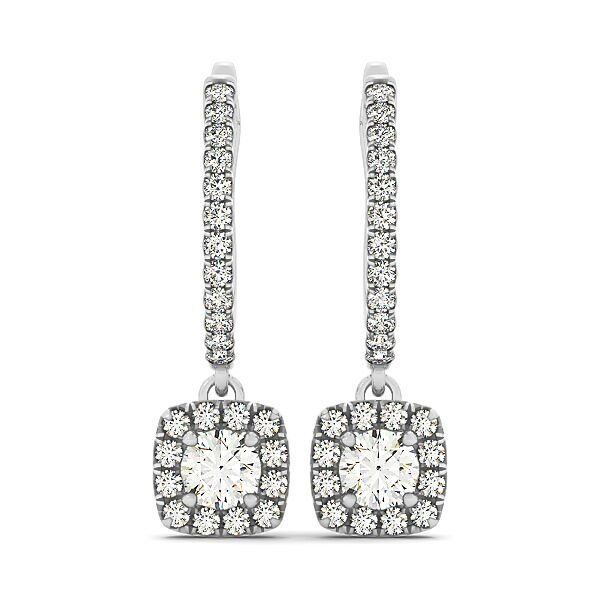 Round Diamond Cushion Halo Drop Earrings