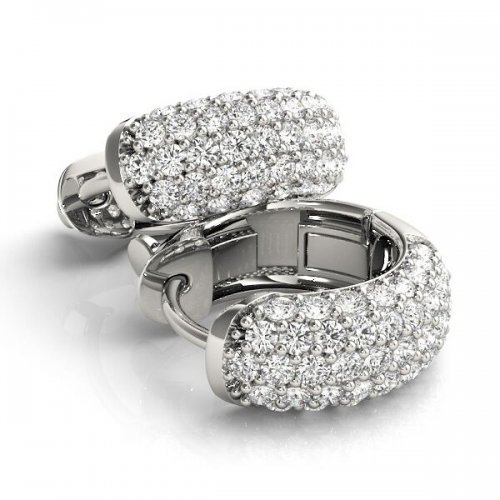 Multi-Row Diamond Hoop Earrings