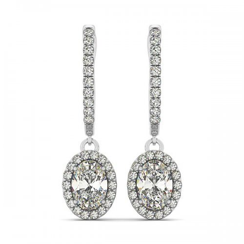 Oval Diamond Drop Earrings