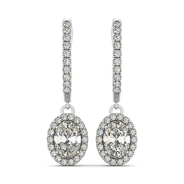Oval Diamond Drop Earrings