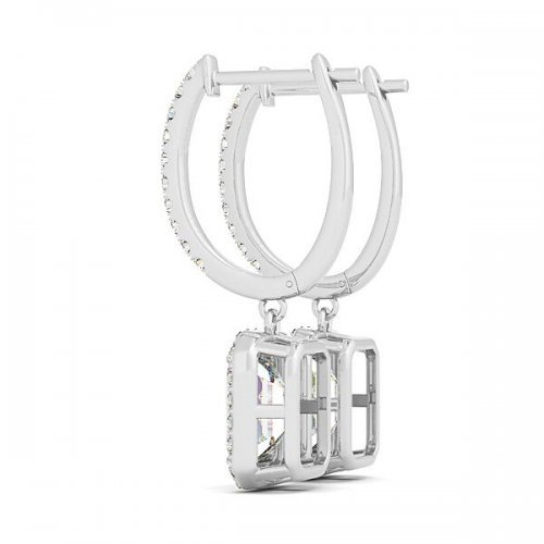 Emerald Cut Diamond Drop Earrings