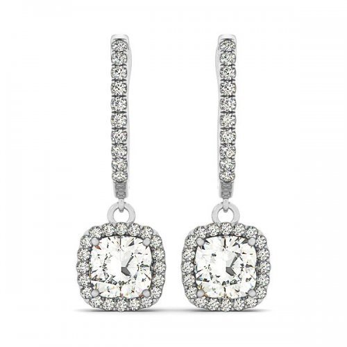 Cushion Cut Diamond Drop Earrings