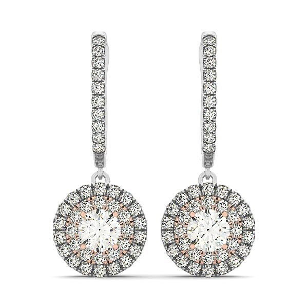 Round Diamond Double Halo Drop Earrings
