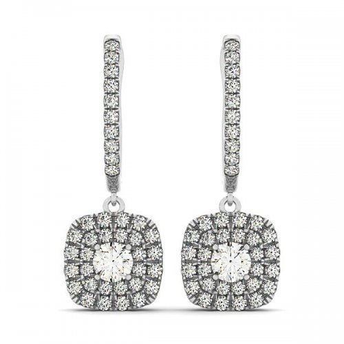 Round Diamond Double Cushion Halo Drop Earrings